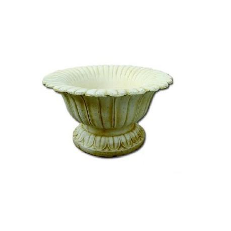 Macetero de hojas en piedra artificial decorada